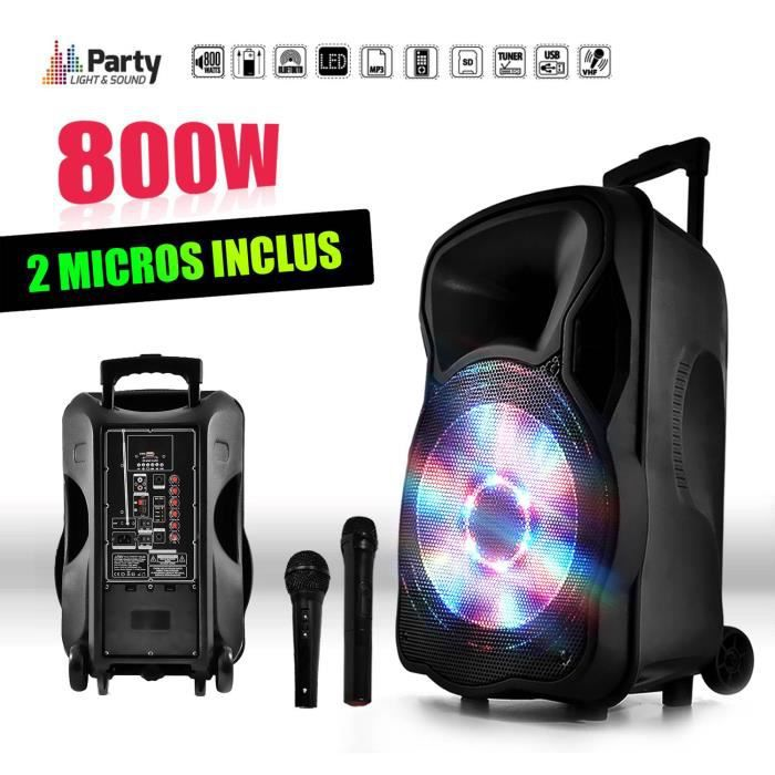 "PACK SONO Enceinte sono mobile amplifiée 800W 15"" LED-USB-BT"