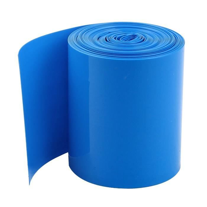 70 mm Plat Largeur 10 m longueur PVC Thermorétractables Tube Bleu Pour 18650 Batteries