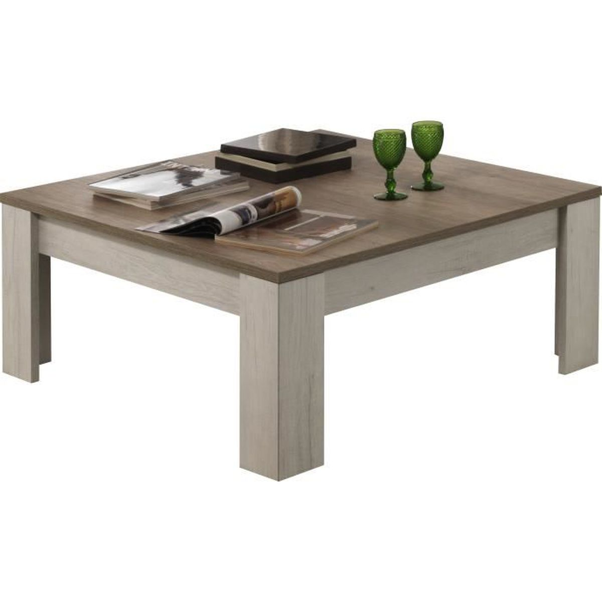 Table basse carr e contemporaine 100 cm coloris ch ne - Table carree chene clair ...