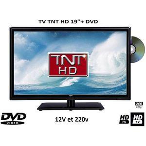 Téléviseur pour véhicule Télévision TV + DVD LED 19' 12V /220V camping car