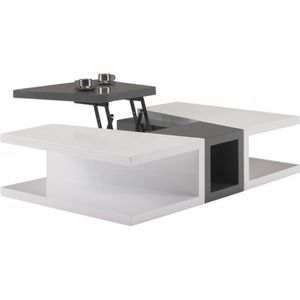 Table basse blanc avec plateau relevable achat vente for Table basse gris anthracite