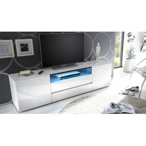 SOMMIER Meuble TV design blanc laqué à Led Vicenza 185 cm