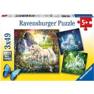 PUZZLE Set Avec 3 Puzzles De 49 Pieces Des Licornes En Fo
