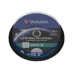 CD - DVD VIERGE Verbatim M-Disc - 10 x DVD-R - 4.7 Go 4x - surface