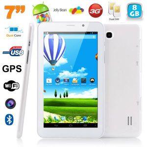 TABLETTE TACTILE Tablette 3G 7 pouces Android Dual SIM 8Go Blanc