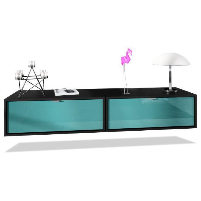 Ensemble de 2 set meuble TV Lana 80 murale lowboard 80 x 29 x 37 cm, caisson en noir, façades en Turquoise haute brillance