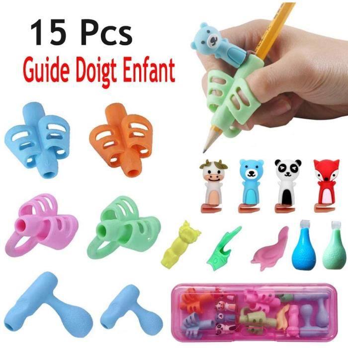 Pencil Grips,Guide Doigt Enfant, Aide écriture - Lot de 15 guide-doigts au design ergonomique Pencil Grips Pour Enfants Étudiants(Ro
