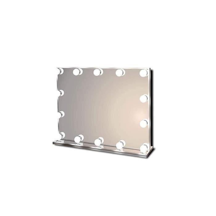 Star Vision Miroir Maquillage Hollywood pour Coiffeuse, Grand Miroir Lumineux avec 14 Ampoules LED Réglable, Trois Températures de C