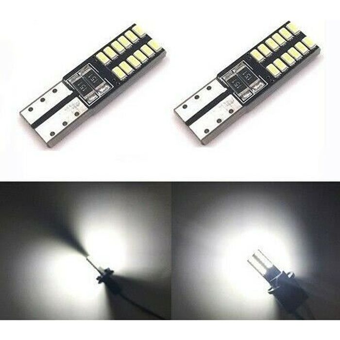 2 Ampoules Veilleuses LED 12 smd T10 W5W Canbus ANTI ERREUR BLANC XENON 6000K 12V