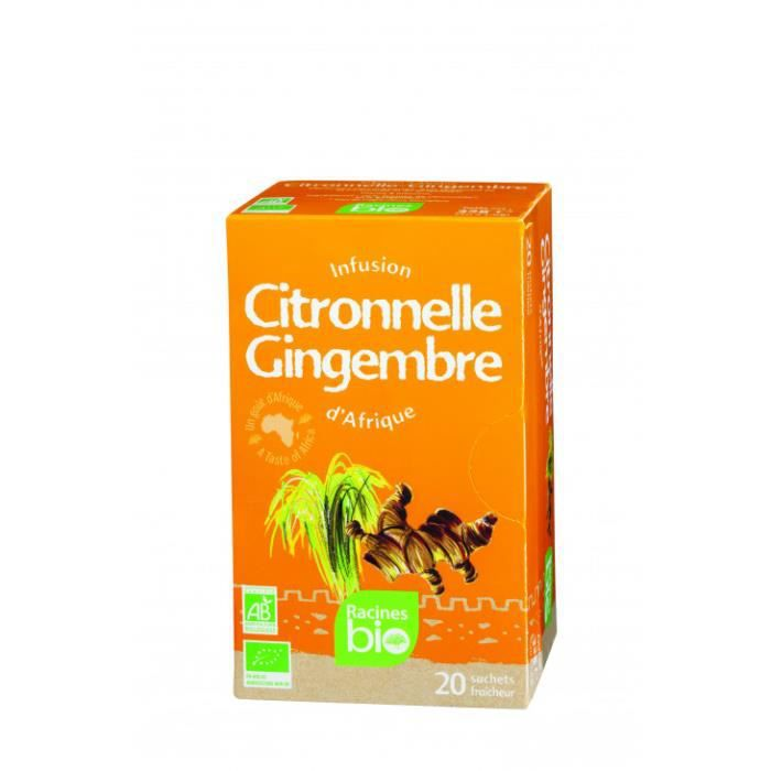 Une infusion délicate, piquante et fraîche grâce à l'association du gingembre et de la citronnelle.Infusion d'Afrique citronnelle