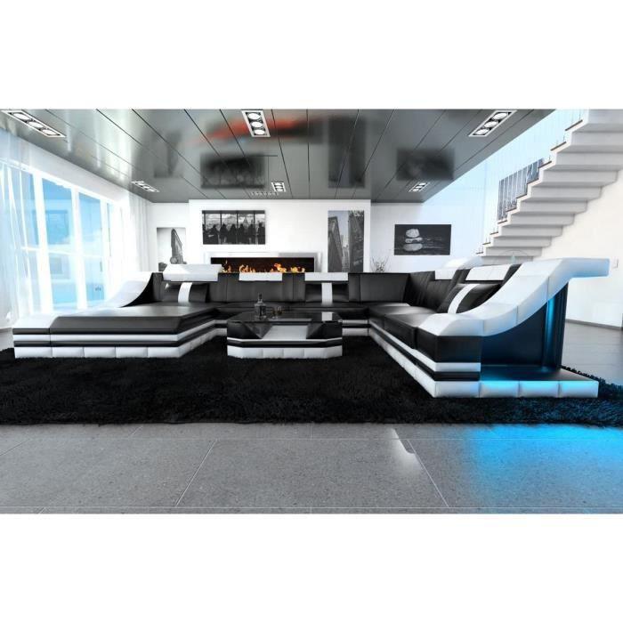 XXL Intérieur Design Torino Cuir Noir et Blanc Canapé Coin Canapé Cuir Canapé Designersofa LED Eclairage Lumière Appuie-Tête Etc