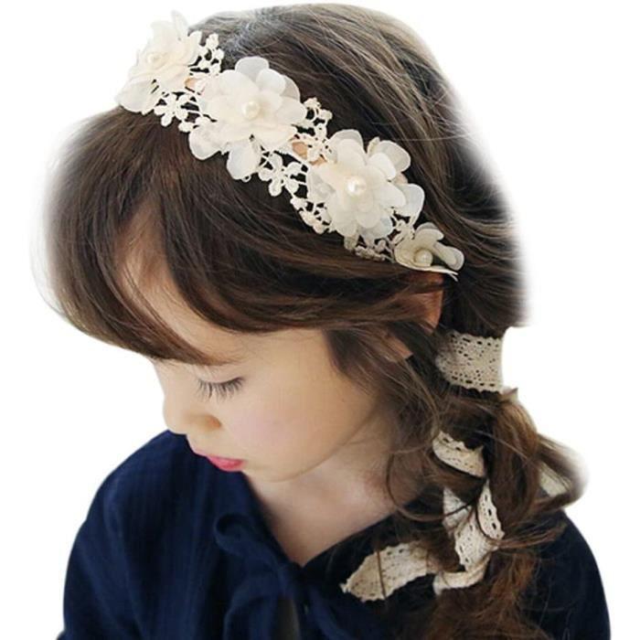 FSSTUD Enfant Fille Dentelle Bandeau Cheveux Mariage Couronne de Fleur pour Accessoire Cheveux Blanc[1322]