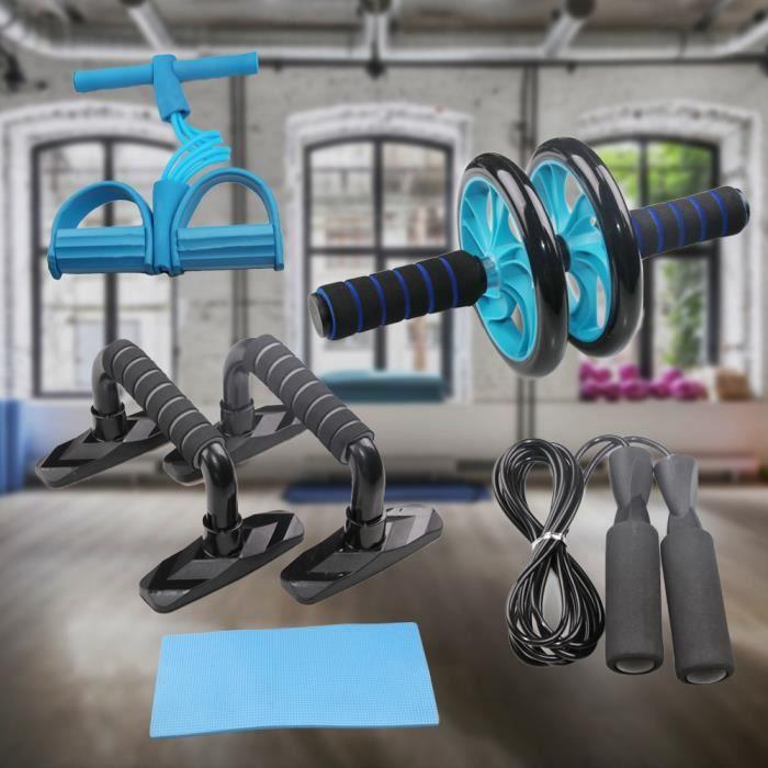 Three 5 en 1 Kit d'Appareils de Fitness Support push-up genouillère double roue - multifonctionnel - Bleu