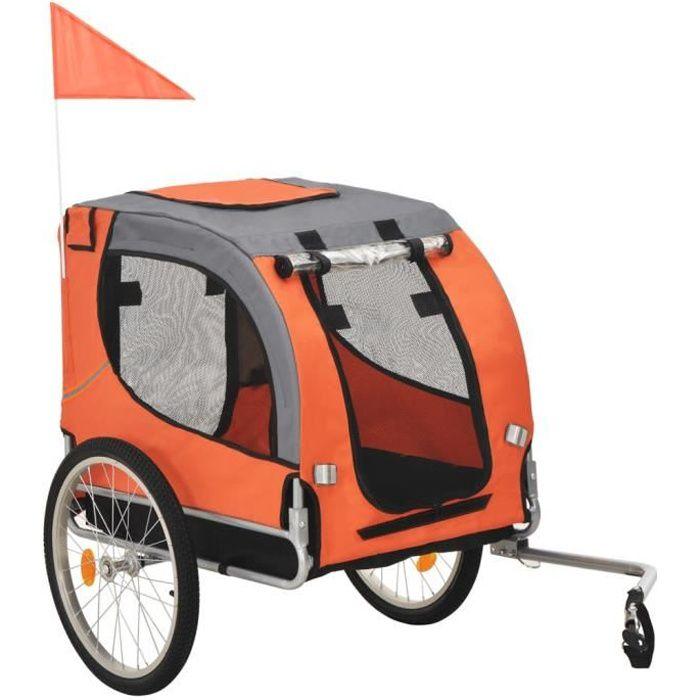 1933®ANI Remorque de vélo, Chariot, Poussette pour chiens Orange et marron