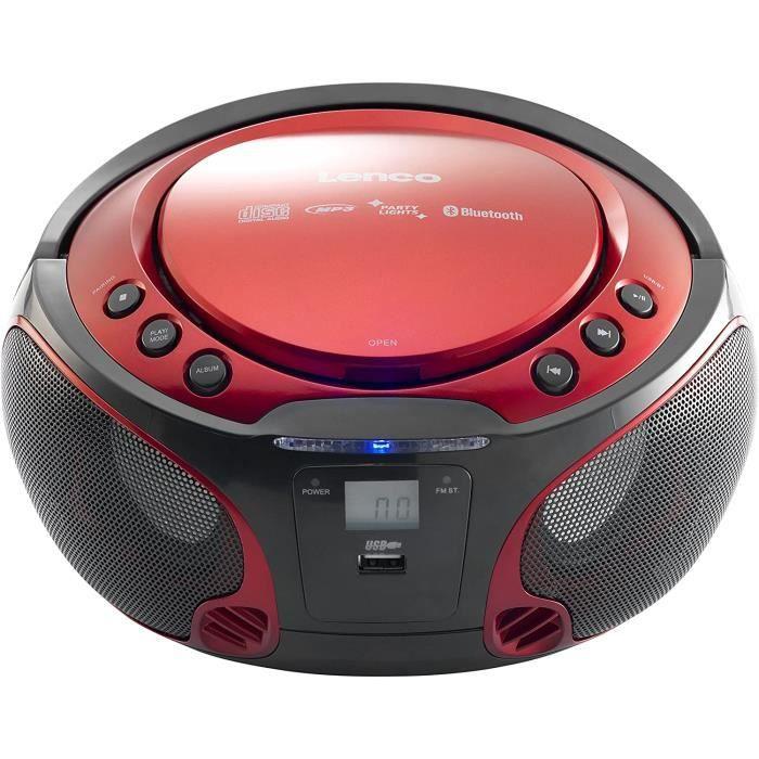 RADIO CD Lenco SCD550 Party Boombox avec lumiegraveres Disco steacutereacuteo Portable avec Radio FM CD Bluetooth et USB Rouge209