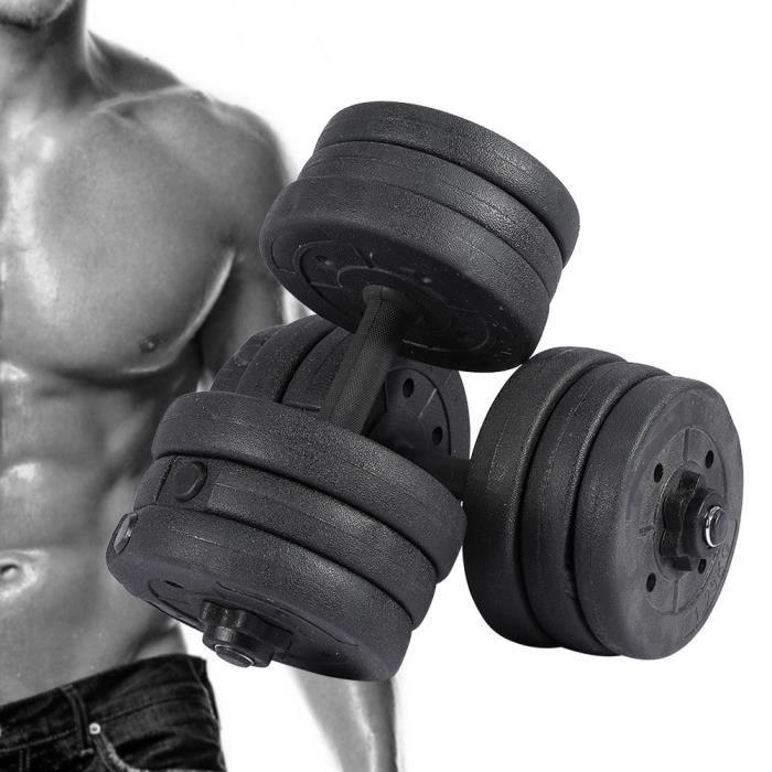 20kg ensemble de haltère musculation levage gymnase fitness d'haltères -ZOO