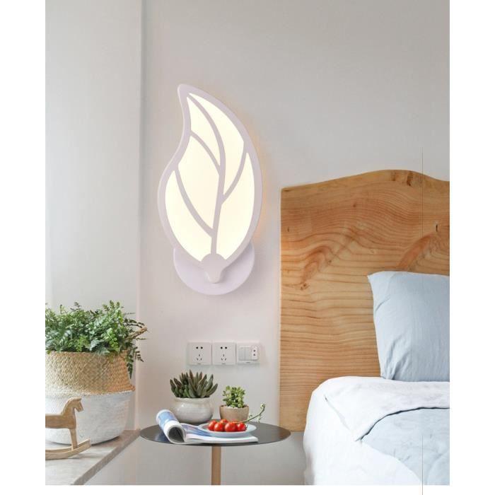 Applique Mural Simple Moderne Applique Mural forme Feuille Lumière Blanche Chaude pour Chambre Salon