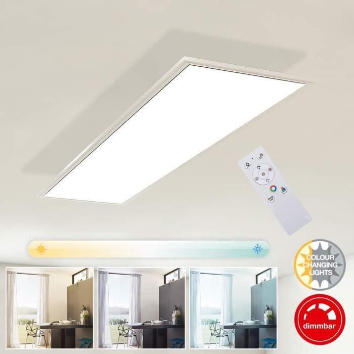 Briloner Leuchten Plafonnier LED rectangulaire encastrable blanc - Panneau LED 23 W dimmable - Température de couleur réglable par