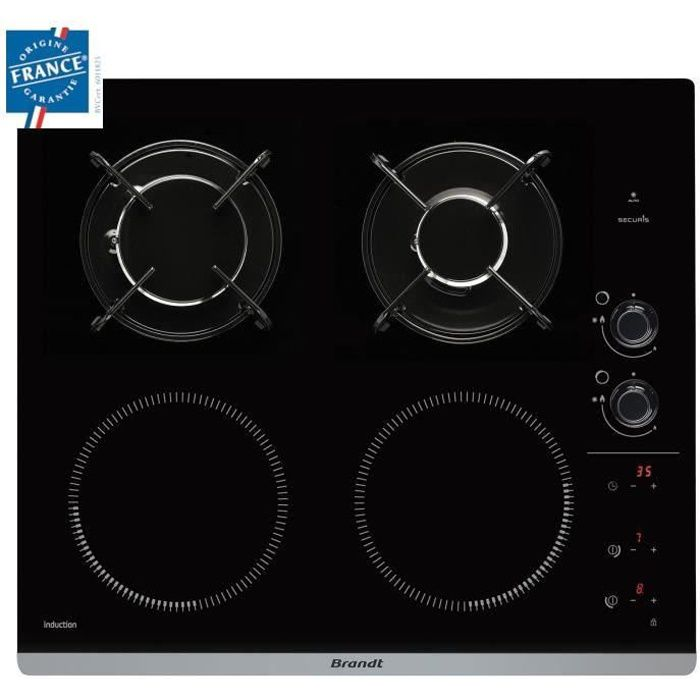 BRANDT BPI6413BM - Table de cuisson mixte induction / gaz - 4 zones - L 51 x P 58 cm - Revêtement ve