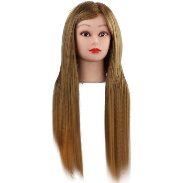 Tête d'apprentissage Tête à Coiffer La Formation Cosmétologie Mannequin Head 24 inch 50% Vrais Cheveux Humains
