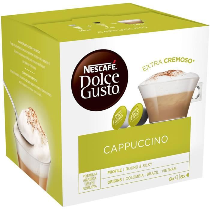 Cafe Moulu - LOT DE 3 - Dolce Gusto - 8+8 Capsules de café cappuccino 186 g