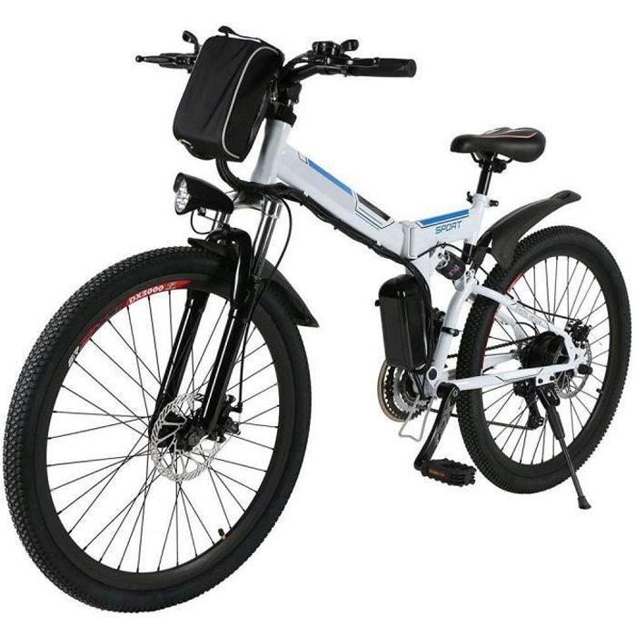 Vélo électrique adulte Homme VTT 22-30 km/h 8AH/36V 250W 26 pouces cadre pliant 21 vitesses - Blanc