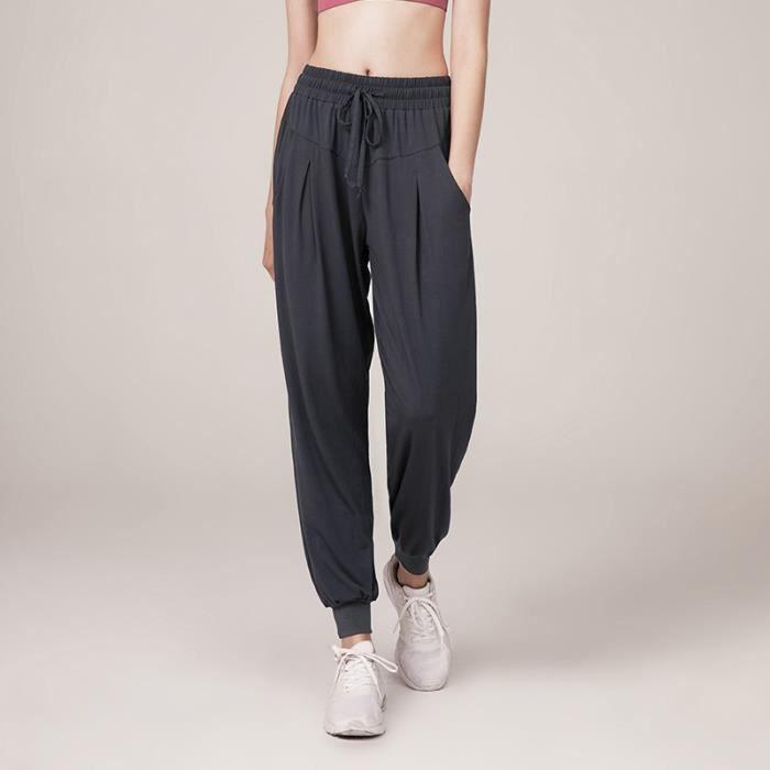 Super Doux Femme Pantalon Harem Yoga-Pilates Bouffant Large Bande Stretch a la Taille Floral Imprime Taille Haute-S-Gris