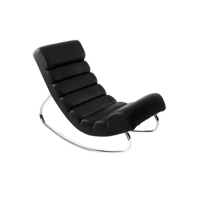 Miliboo - Fauteuil design noir rocking chair TAYLOR