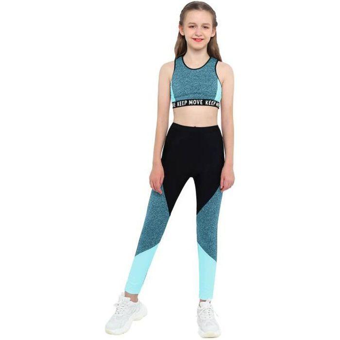 iixpin Ensemble de Sport Fille Enfant Fitness Gym Legging Running Jogging Yoga Débardeur 4-16 Ans Bleu