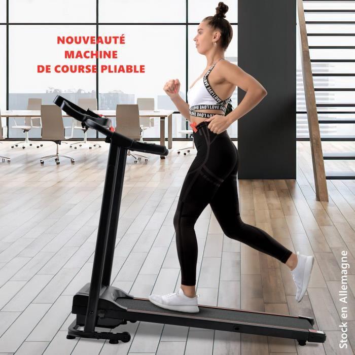 Nouveauté Machine de course pliable sur tapis roulant avec haut-parleur pour gymnastique à domicile-fitness Noir
