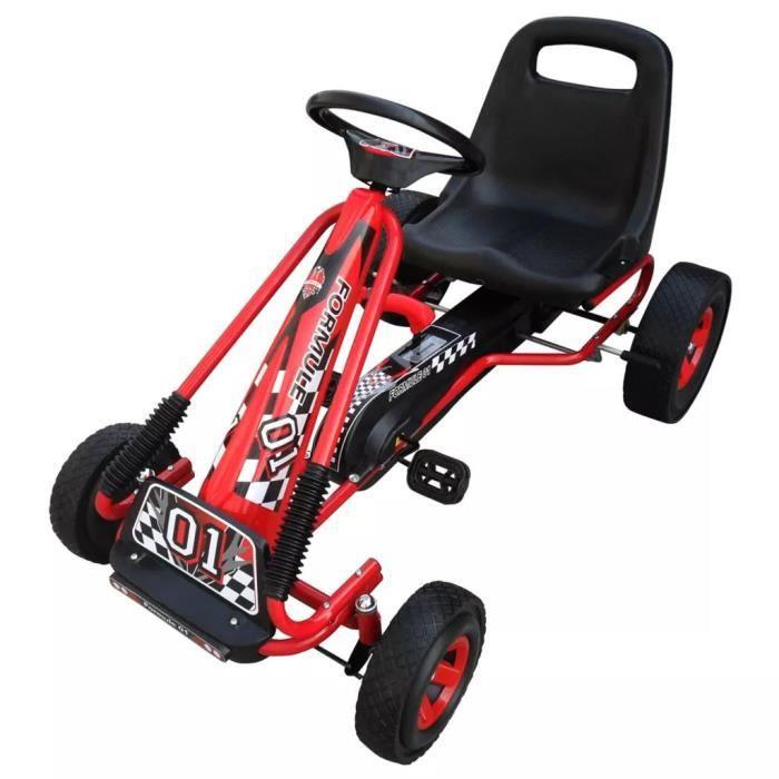 Karting Go-Kart à Pédales avec Siège + Volant réglables pour enfants Rouge