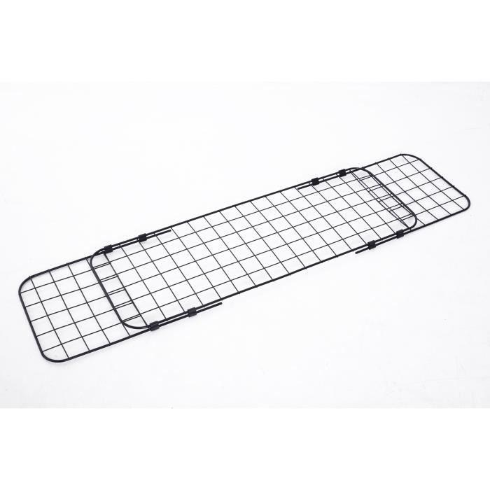 Barrière grille de séparation universelle voiture pour animaux longueur réglable dim. 91-145L x 30H cm kit complet installation