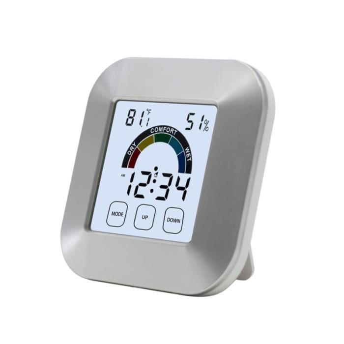 1 compteur d'humidité d'écran tactile d'indice de confort d'ABS d'horloge électronique de PC pour la maison d'intérieur