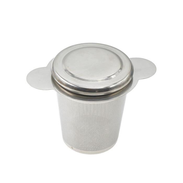 1 pc infuseur à thé en acier inoxydable filtres à mailles fines passoire pour théières tasses (argent, poignée ronde) THE