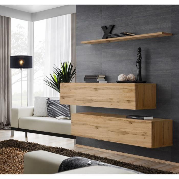 Ensemble meubles de salon SWITCH SBII design, coloris chêne Wotan. 30 Marron