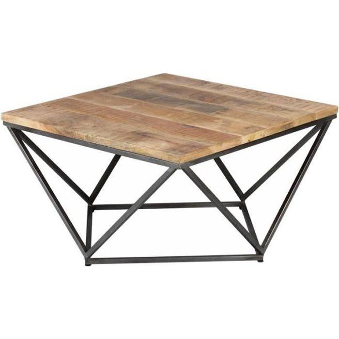 Table basse carrée Métal/Bois - KNOX - L 95 x l 95 x H 50