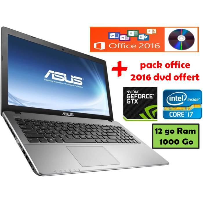 asus pc gamer core i7 12go 1000go 15 6 offert dvd pack office 2016 prix pas cher. Black Bedroom Furniture Sets. Home Design Ideas