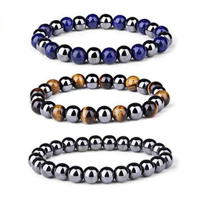 Simple Handmade Magnétique Double-couche Hématite Perles Bracelet jonc Bracelet