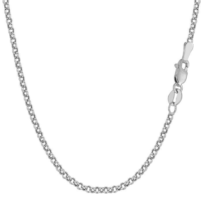 Collier- 10 k or blanc rondRolo lien, 2,3 mm, 18