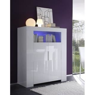 buffet haut blanc laqu 2 portes avec clairage led design. Black Bedroom Furniture Sets. Home Design Ideas
