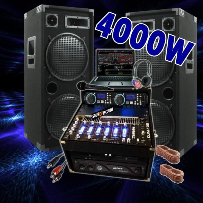sono 4000w double cd ampli enceintes mixage pack. Black Bedroom Furniture Sets. Home Design Ideas