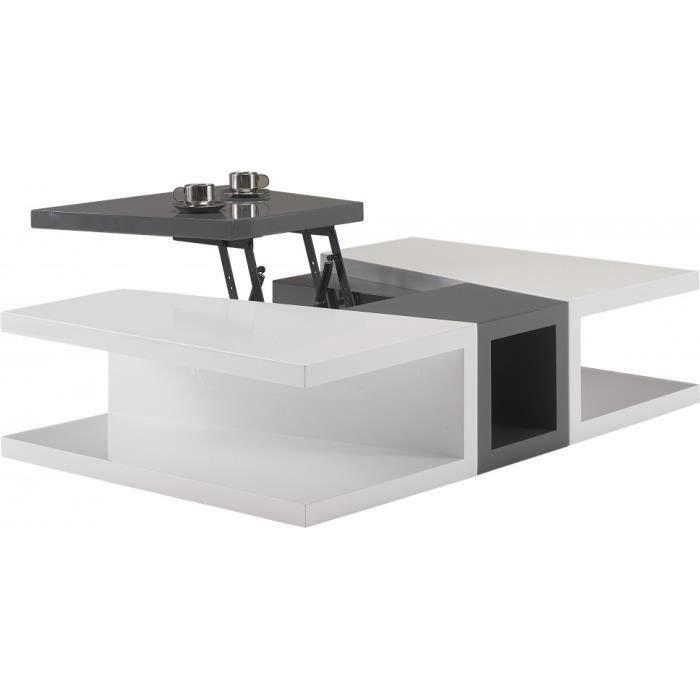table basse design laque blanc et gris anthracite plateau