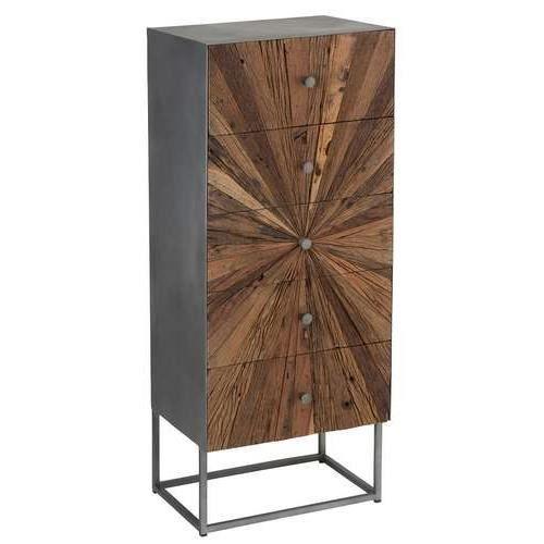 COMMODE DE CHAMBRE Commode haute shantil cinq tiroirs bois et métal 1