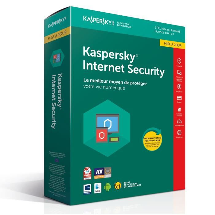 ANTIVIRUS KASPERSKY Internet Security 2018 - 1 Poste / 1 An