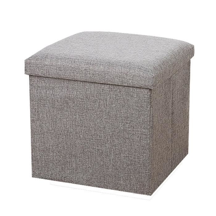 gris petit pouf coffre de rangement carr rectangulaire pliable pliant 30x30x30 cm repose pieds. Black Bedroom Furniture Sets. Home Design Ideas