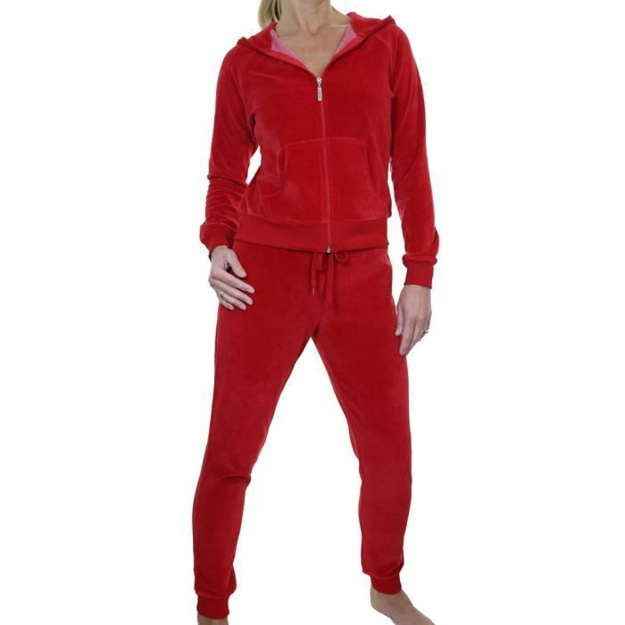 combinaison de jogging d int rieur en velours rouge capuche et pantalon moulant rouge achat. Black Bedroom Furniture Sets. Home Design Ideas