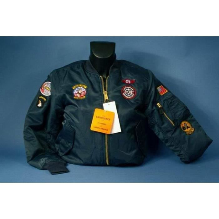 blouson aviateur enfant bombers ma 1 top gun bleu p trole. Black Bedroom Furniture Sets. Home Design Ideas