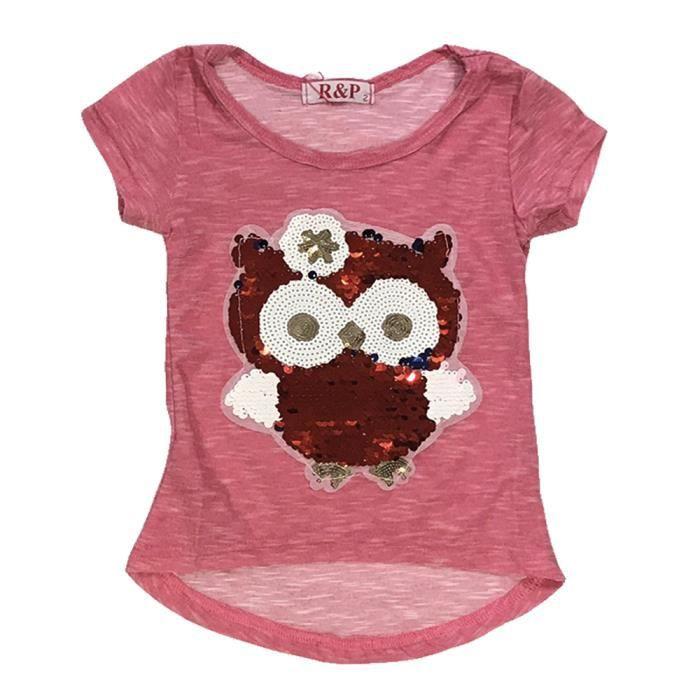 Filles Enfants Sequin réversible Licorne Brosse Changing Paillettes Top T-shirt 12-14