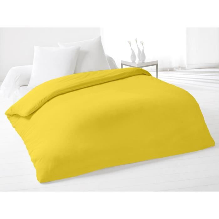housse de couette 220x240 cm coton uni jaune achat. Black Bedroom Furniture Sets. Home Design Ideas