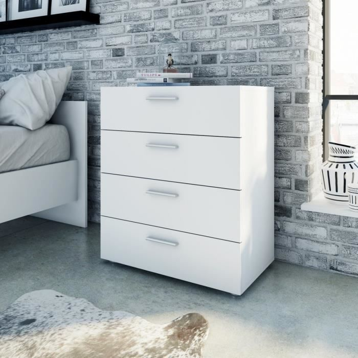 pepe commode 70x40 x82 cm blanc achat vente commode de chambre pepe commode 4 tiroirs. Black Bedroom Furniture Sets. Home Design Ideas